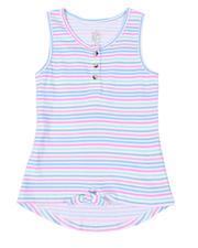 La Galleria - Hi-Low Striped Tie-Front Top (7-16)-2492474