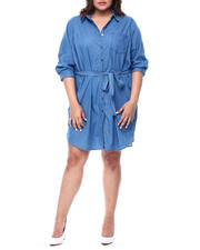 Plus Size - ROLL CUFF SLEEVE 1 POCKET  SHIRT DRESS (Plus)-2468423