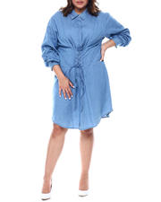 Plus Size - ROLL CUFF CORSET FRONT SHIRT DRESS WITH CONCEALED PLACKET (Plus)-2468427