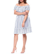 Plus Size - Peasant Neck Smocked Waist Faux Tier Dress (Plus)-2488381