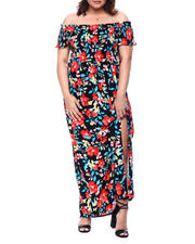 DEREK HEART - Off Shoulder Smocked Bodice Print Maxi Dress (Plus)-2488394
