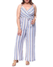 DEREK HEART - Stripe Surplus O Ring Jumpsuit (Plus)-2488402