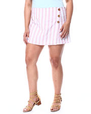 DEREK HEART - Stripe Slub Skort W/Coconut Shell Buttons (Plus)-2490899