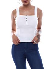 Tanks, Tubes & Camis - Ribbed Button Front Tank Top-2492558