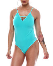 Fashion Lab - Seamless Ladder Front Spaghetti Strap Bodysuit-2492688