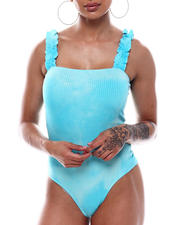 Fashion Lab - Ruffle Strap Square Neck Bodysuit-2492781