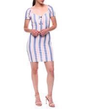Womens-Holiday - Stripe Puff Slv Te Bodice Short Dress-2492785
