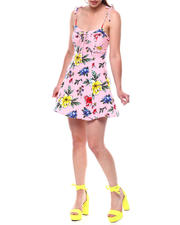 DEREK HEART - Tie Spagh Strap Princess Seam Printed Dress-2492804