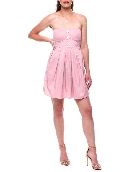 DEREK HEART - Denim Foam Cup Dress w/ Shell Buttons