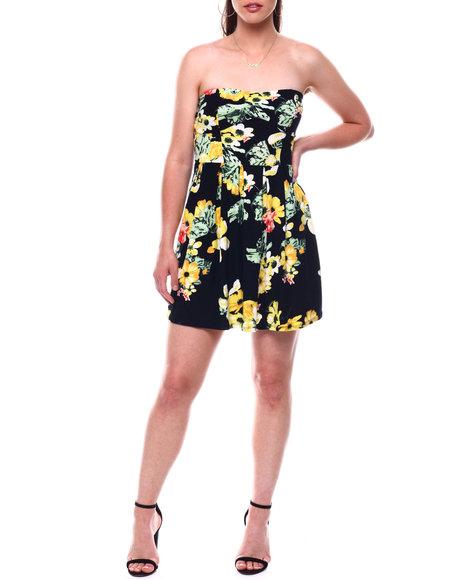 DEREK HEART - Printed Jersey Strapless Dress