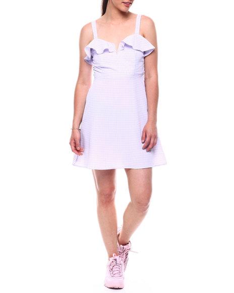 DEREK HEART - Strappy Dress W/V-Bar Nk Ruffle & Smocked Back