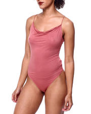 Athleisure for Women - Spagh Strap Cowl Nk Thong Bodysuit-2441578