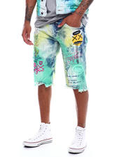 SMOKE RISE - Summer Blue Graffiti Short-2493673