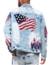 SMOKE RISE - Americana Distressed Denim Jacket-2493739