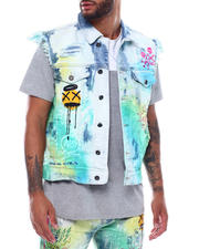 SMOKE RISE - Summer Blue Wash Graffiti Denim Vest-2493744