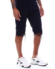 SMOKE RISE - Distressed Denim Short Black Wash-2493664