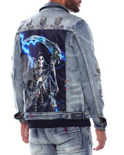 Denim Jackets - Skull Stone and Reaper Denim Jacket-2493749