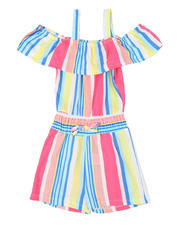 Rompers - Striped Off Shoulder Romper W/ Smocked Waist (4-6X)-2494634