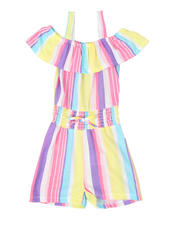 Rompers - Striped Off Shoulder Romper W/ Smocked Waist (4-6X)-2494638