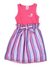 La Galleria - Love Rib Tank Dress W/ Striped Woven Skirt (2T-4T)-2494650