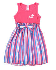 Girls - Love Rib Tank Dress W/ Striped Woven Skirt (4-6X)-2494654
