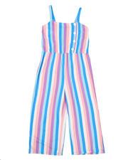 La Galleria - Stripe Faux Button Front Capri Jumpsuit (7-16)-2494670