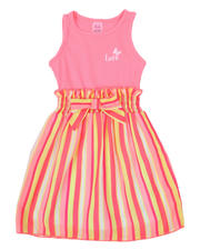 Girls - Love Rib Tank Dress W/ Striped Woven Skirt (2T-4T)-2494658