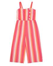 La Galleria - Stripe Faux Button Front Capri Jumpsuit (7-16)-2494666