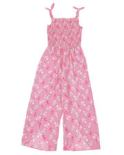 Girls - Floral Printed Smocked Top Jumpsuit (7-16)-2494622