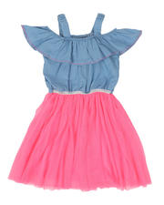 Girls - Chambray Off Shoulder Dress W/ Tulle Skirt (4-6X)-2494646