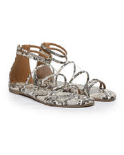 Qupid - Snake Strappy Flat Sandals-2494762