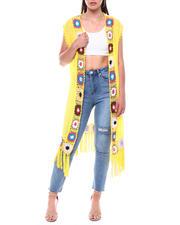 Fashion Tops - Crochet Trim Fringe Duster-2495935