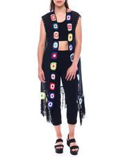 Fashion Tops - Crochet Trim Fringe Duster-2495939