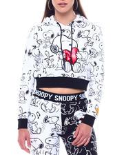 Hoodies - SNOOPY HEART CROP HOODIE-2495955