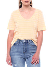 Fashion Lab - S/S Stripe Scoop Neck Over-Sized T-Shirt-2495761