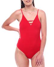 Fashion Lab - Seamless Ladder Front Spaghetti Strap Bodysuit-2495891