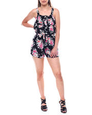 Womens-Holiday - Wide Strap Romper w/ Ruffle & Button Placket-2495879