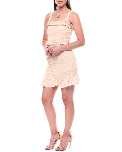 DEREK HEART - Wide Strap Multi Color Smocked Dress