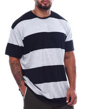 Buyers Picks - S/S Crew Neck Rugby Stripe Tee High-Low (B&T)-2495335