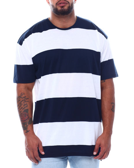 Buyers Picks - S/S Crew Neck Rugby Stripe Tee High-Low (B&T)