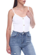 Tanks, Tubes & Camis - Spagh Strap Ribbed Tank w/ Button Placket-2495789