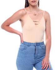 Fashion Lab - Seamless Ladder Front Spaghetti Strap Bodysuit-2495892