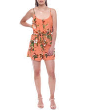 Womens-Holiday - Floral Spagh Stap Romper w/ Tie Sash Belt-2495859