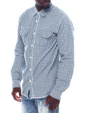 Mens-Holiday - Ls Plaid Shirt W Chambray Elbow Patch-2497709