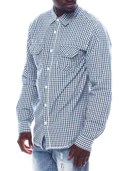 Buyers Picks - Ls Plaid Shirt W Chambray Elbow Patch
