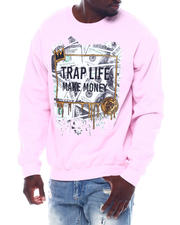 Men - Trap Life Make Money Glitter Crewneck Sweatshirt-2497073
