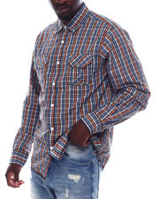 Men - Ls Plaid Shirt W Chambray Elbow Patch-2497696