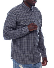 Men - Ls Plaid Shirt W Chambray Elbow Patch-2497704