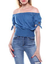 DEREK HEART - Denim Off Shoulder Tie Slv Smocked Top-2498122