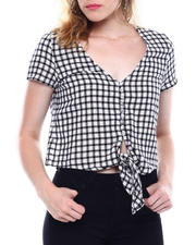 DEREK HEART - S/S Gingham Button Up Tie Front Blouse-2498200